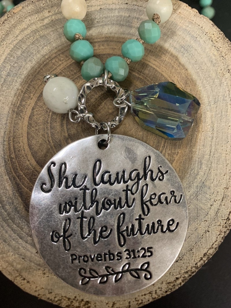 She Laughs Without Fear Of The Future Beaded Necklace In Mint