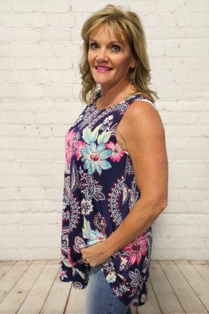 Take My Hand Paisley & Floral Print Top In Navy- Sizes 4-10