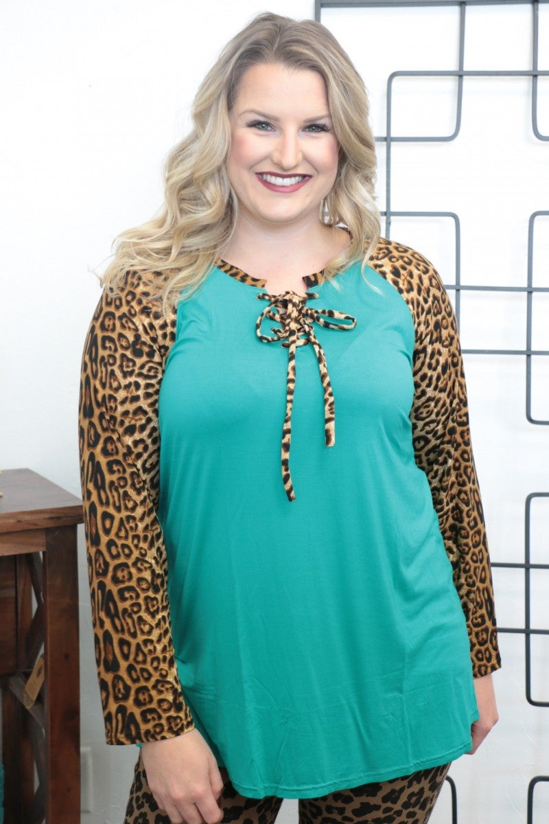 Stereo Hearts Leopard And Teal Raglan With Tie - Sizes 4-20