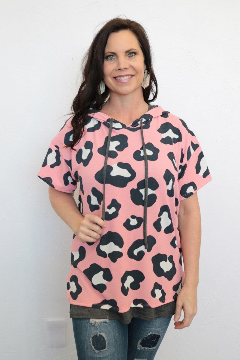 Makes You Wonder Leopard Top with Hood in Pink - Sizes 4-20