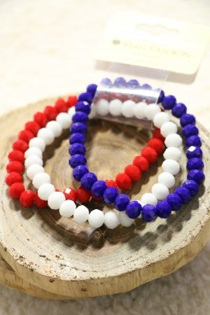 USA 3 Strand Beaded Stretch Bracelet In Red White and Blue