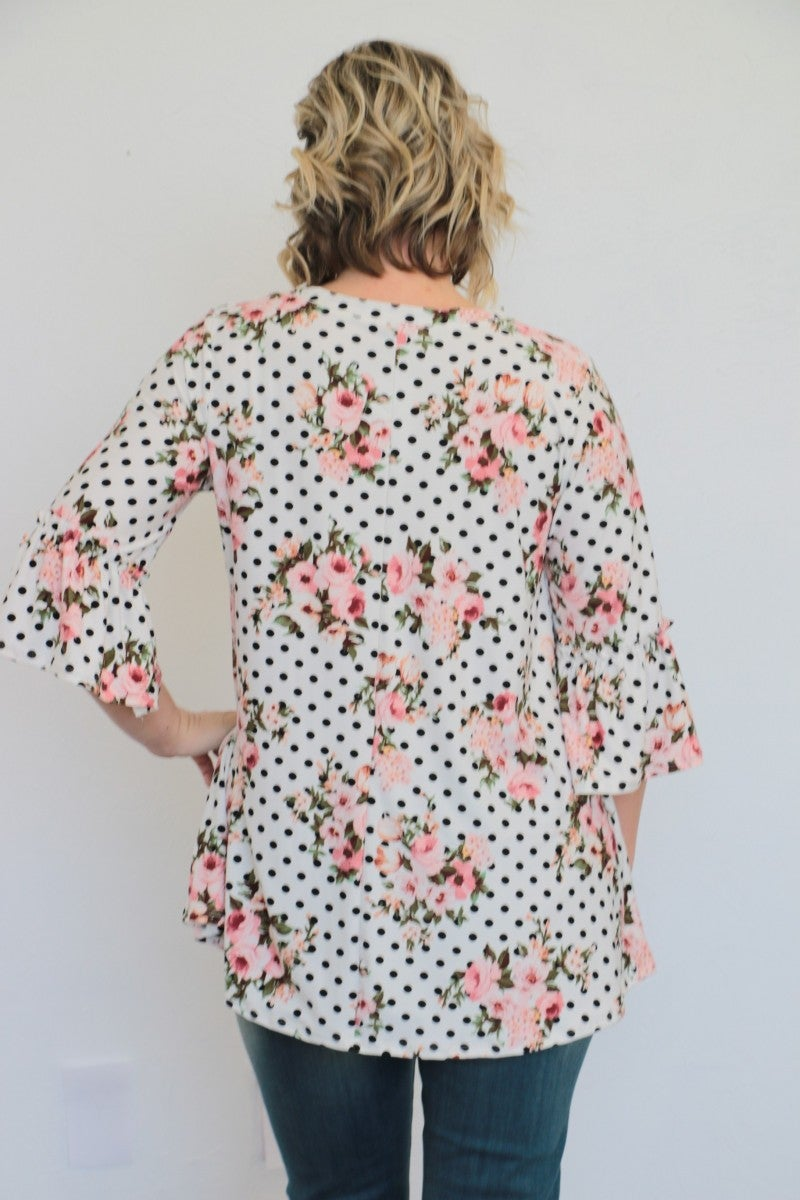 Follow The Flowers Polka Dot Top - Sizes 4-20