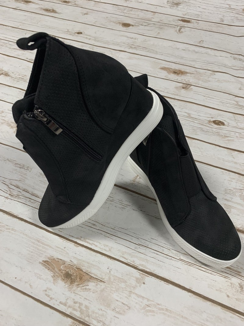 Hurry On Over Wedge Sneaker In Black - Sizes 6-10