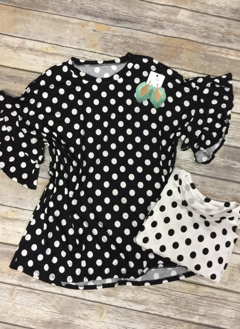 Swinging Sideways Polka Dot Top With Ruffle Sleeves - Sizes 12-20- Multiple Colors