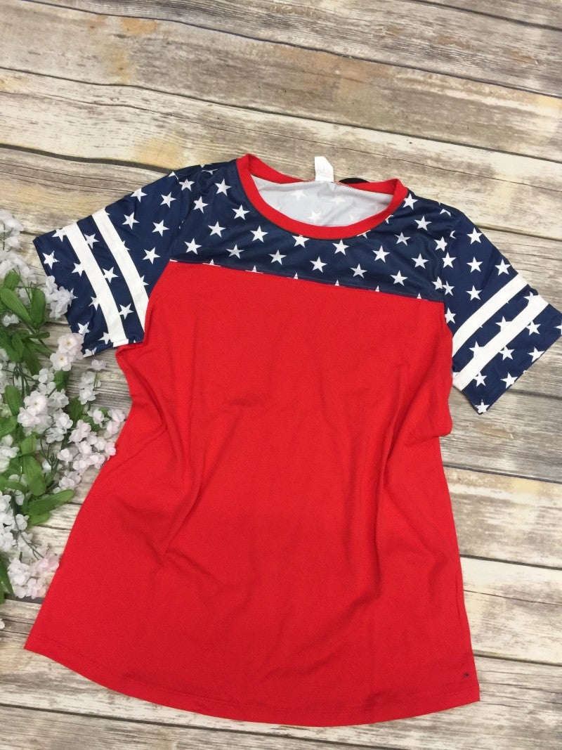 Courtesy of the Red, White, and Blue Top in Red - Sizes 4-20