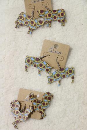On The Farm Wooden Sunflower Print Earrings In Multiple Shapes