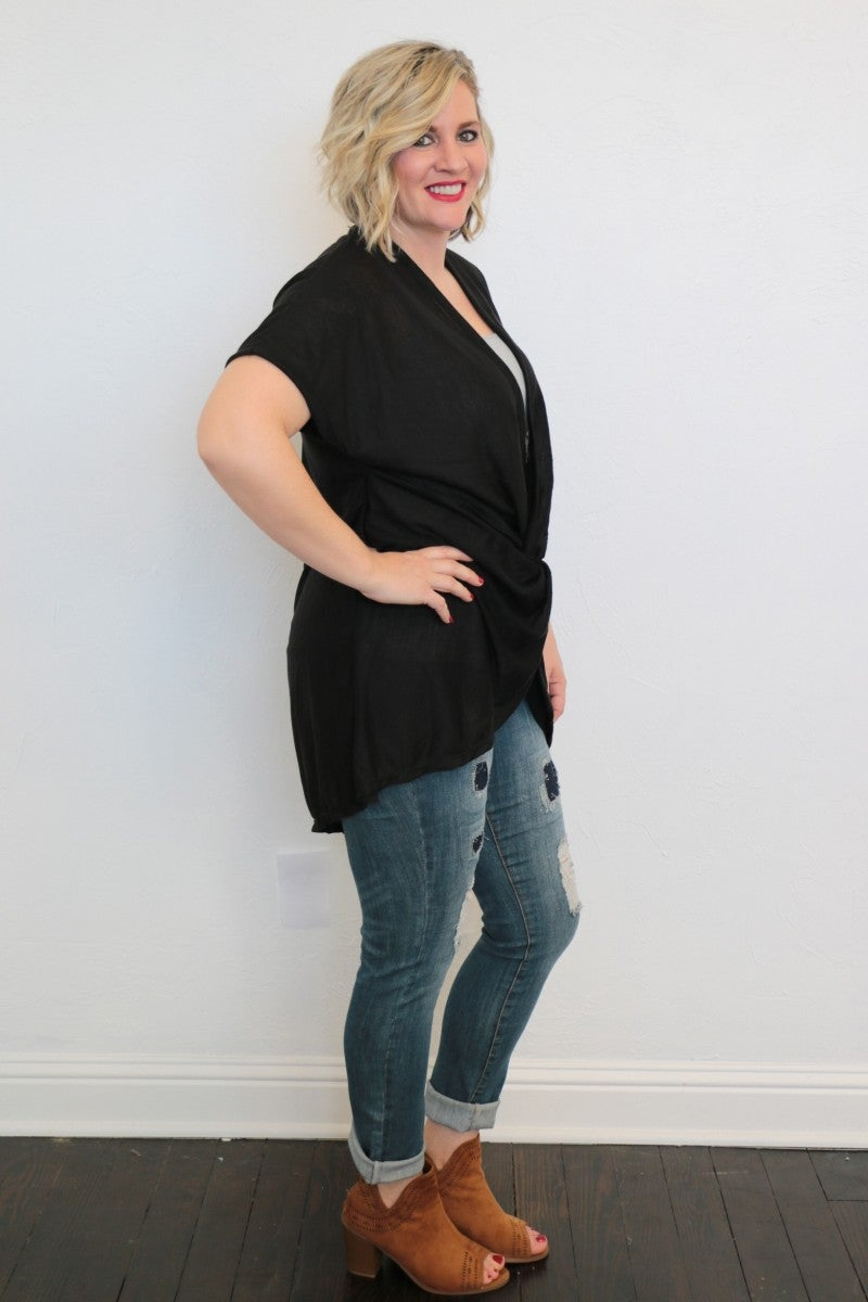I Can Only Imagine Front Cross Casual Short Sleeve Tunic Top In Black - One Size