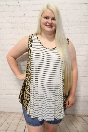 Roaring Out Loud Striped Tank Top with Leopard Acent - Sizes 12-20
