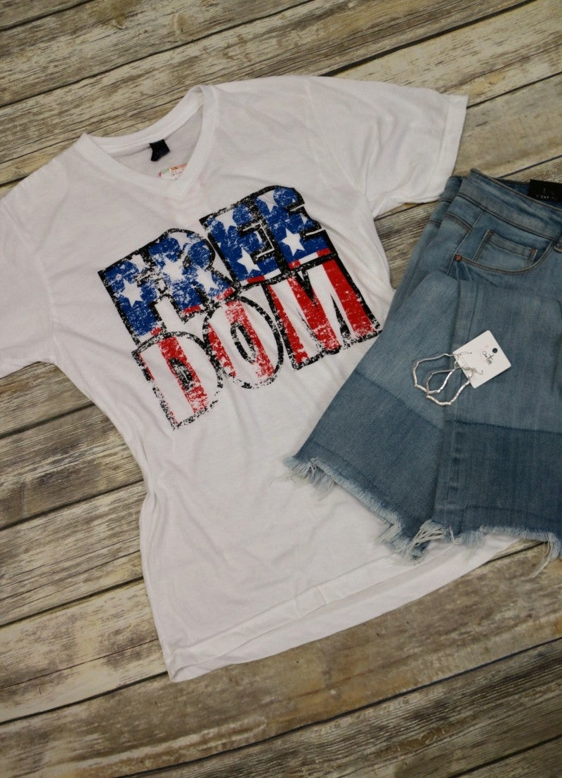 Real American FREEDOM Graphic Tee In White Sizes 4-12