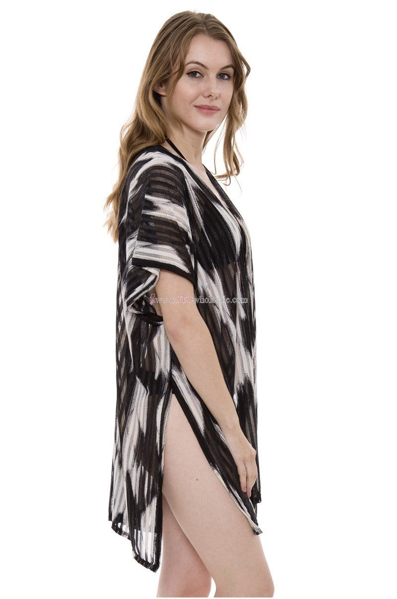 Black & White Super Stretchy Striped Sheer Kimono ~ One Size Fits Most 4-20