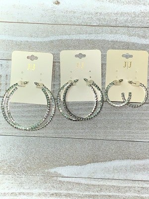 Silver Bling Hoop Earrings in Multiple Sizes