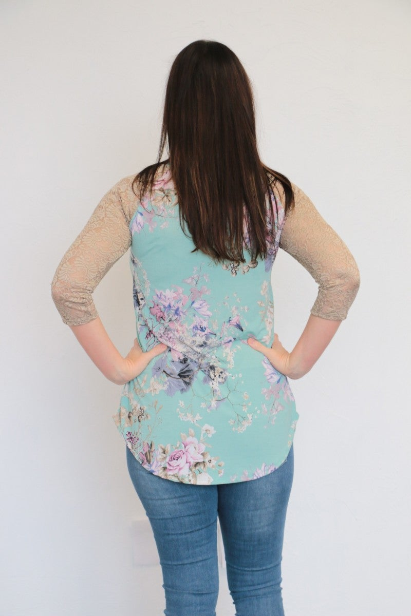 Somewhere On A Beach 3/4 Sleeve Top With Lace Raglan Sleeve In Powder Blue - Sizes 4-10