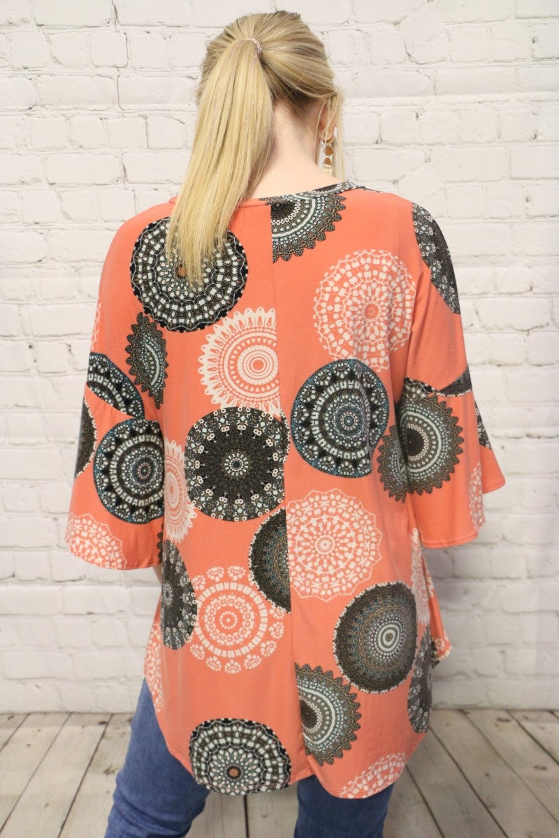 Time For Fun Coral Medallion Print With Ruffle Sleeve- Sizes 4-10