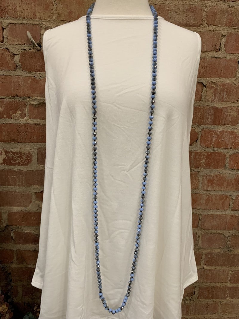 Point Of Perfection Beaded Necklace In Indigo