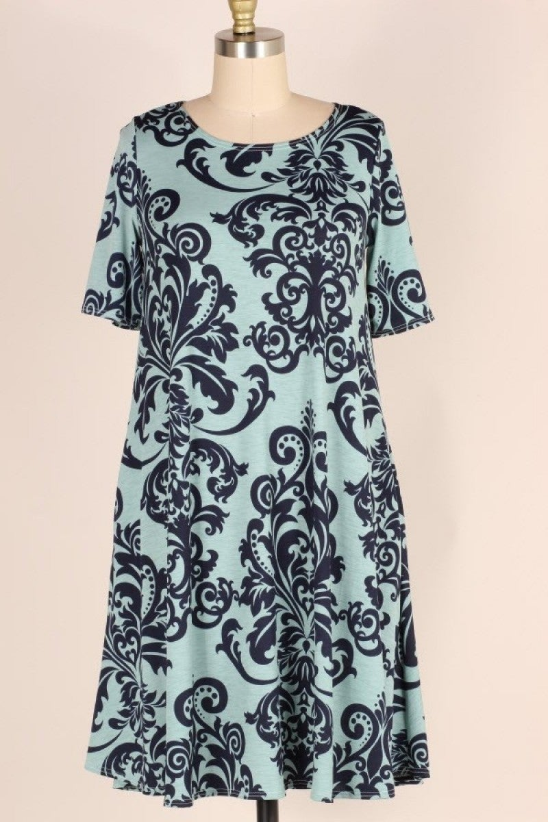 One More Trip Damask Dress in Sage - Sizes 12-20