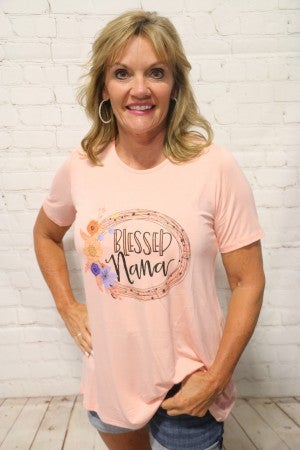 Blessed Nana Graphic Tee In Peach- Sizes 4-20