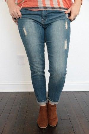 The Chesney Medium Wash Distressed Skinny Jeans In Denim - Sizes 5-15 - Nine Planet