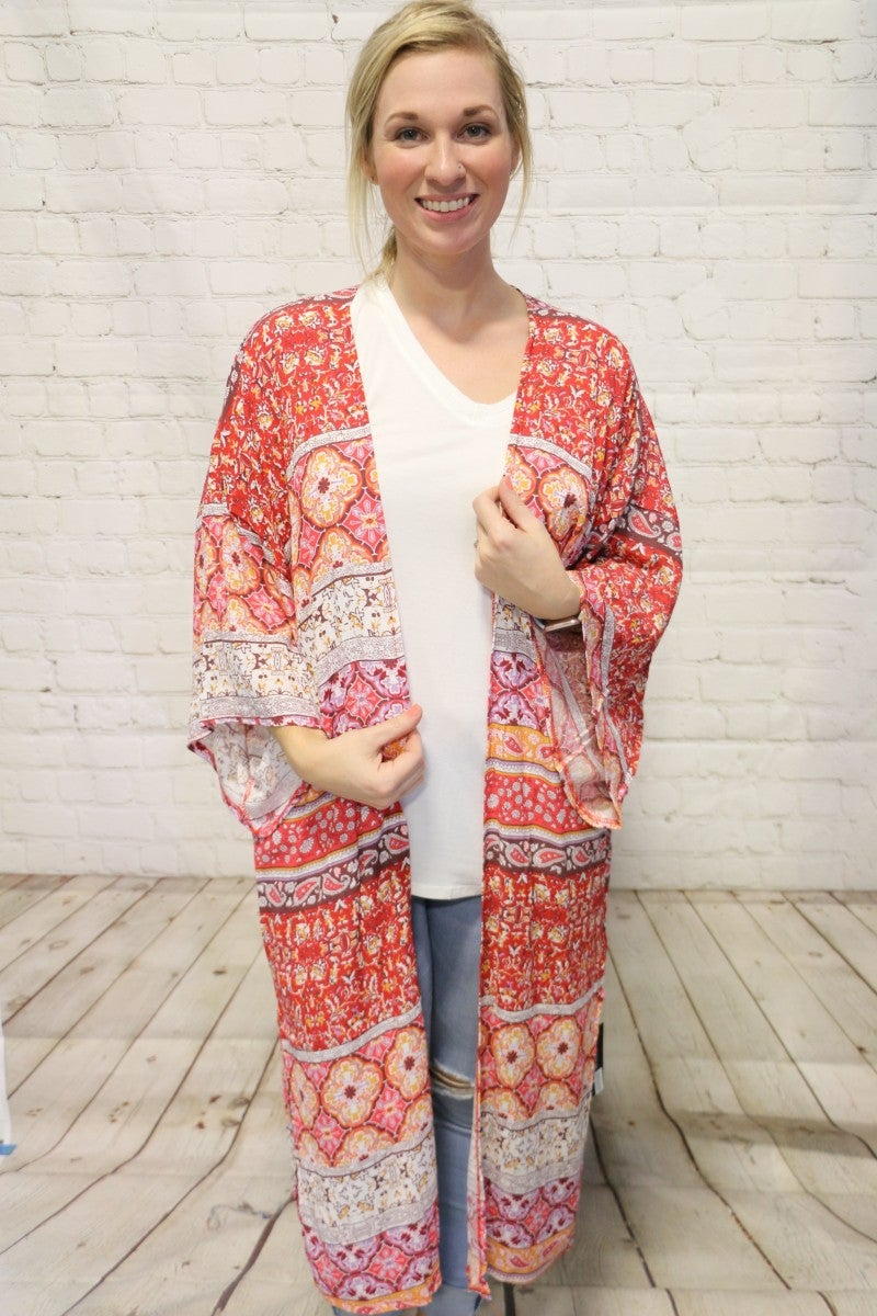 All My Love Paisley Multi Print Kimono In Rust- One Size *Final Sale*