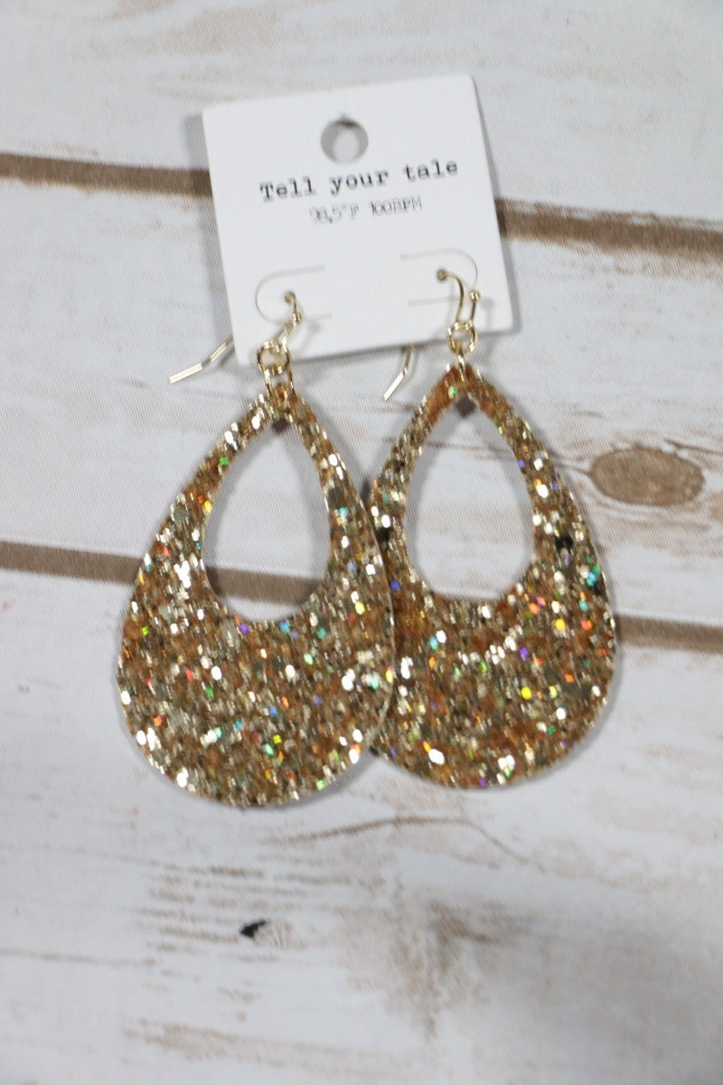 Throwing Sparkle Around Gold Teardrop Earrings
