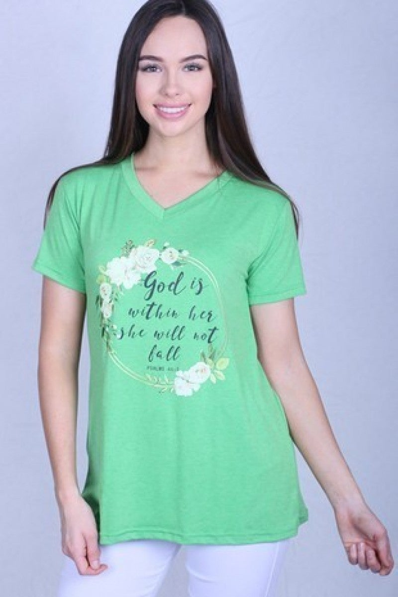 God Is Within Her V Neck Tee In Green- Sizes 10-20