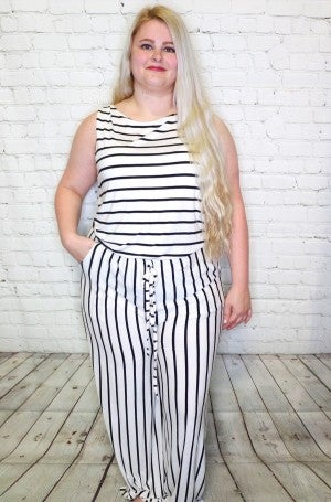 So Much More Striped Jumpsuit In Multiple Colors -  Sizes 4-20
