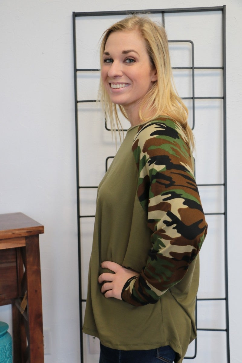 Even If We Could Go Camo Contrast Top In Olive - Sizes 4-10