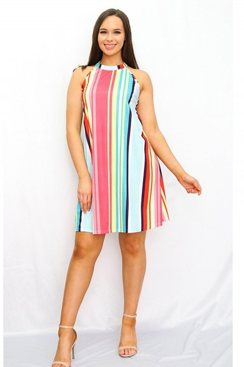 Always A Rainbow Striped Colorful Dress - Sizes 4-20