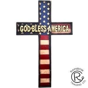 God Bless America Resin Flag Cross