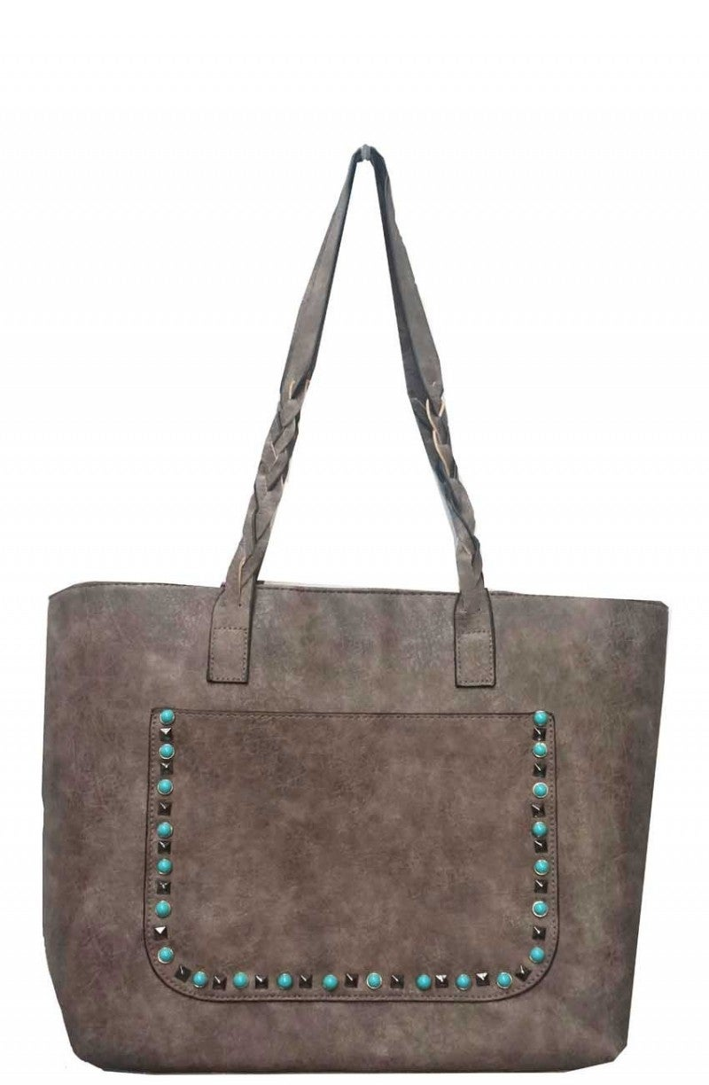 Turquoise & Stud Accented Tote Purse in Multiple Colors