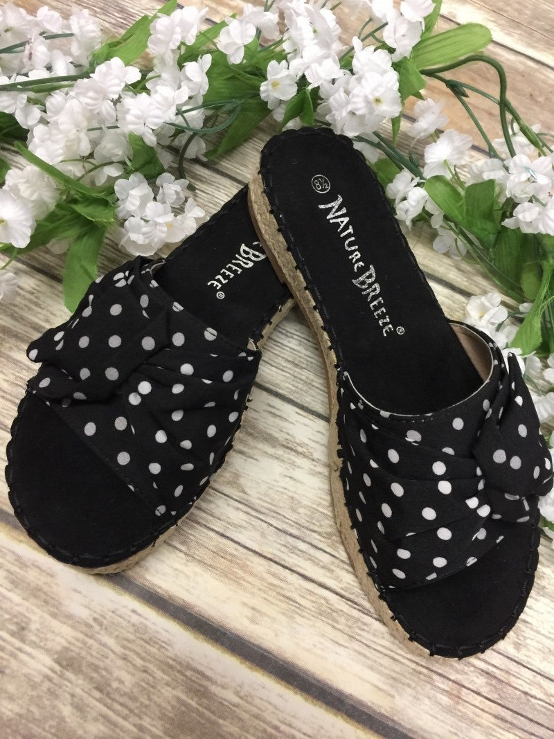 The Trisha Polka Dot Espadrille Sandals In Black