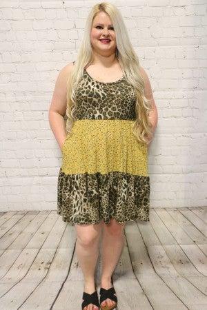 Multi-Fabric Floral & Leopard Sleveless Dress