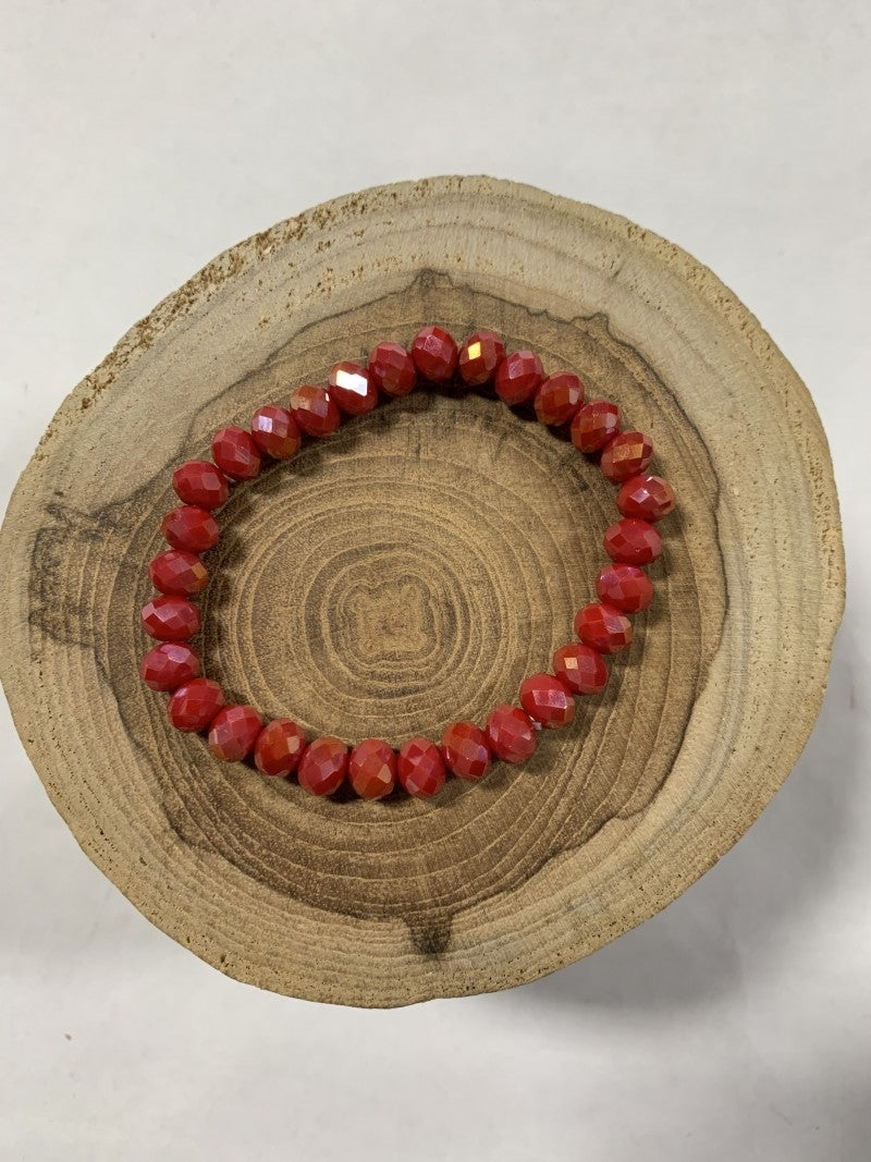 Uptown Beaded Stretch Bracelet - Raspberry