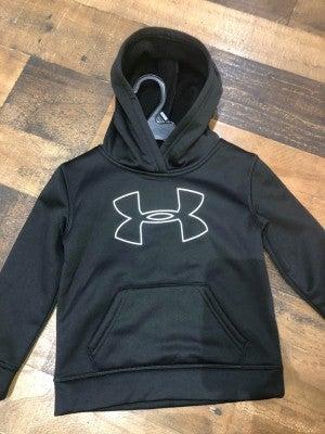 black under armor sweatshirt with white logo