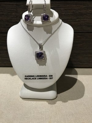 CZIRE AMETHYST AND CZ NECKLACE OR EARRINGS (SOLD SEPARATLEY)