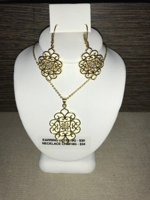 CZIRE GOLD AND CZ FILIGREE NECKLACE OR EARRINGS (SOLD SEPARATELY)