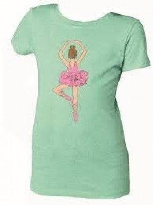 GREEN T-SHIRT WITH BALLERINE ON THE FRONT