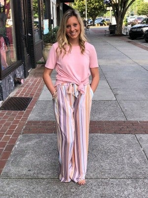 COZY CASUAL MULTI STRIPPED PANTS