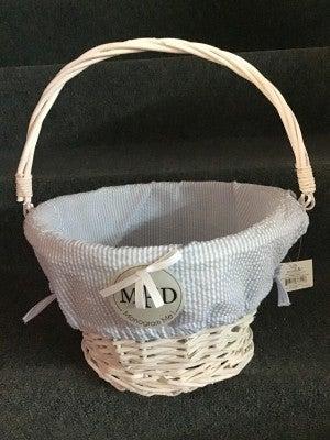Large Blue Wicker Seersucker Basket
