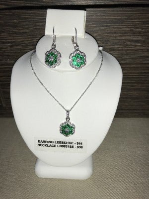 CZIRE CZ AND EMERALD NECKLACE OR EARRINGS (PRICED SEPERATELY)