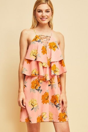 Floral print double-layer shift dress featuring lace-up detail at v-neck