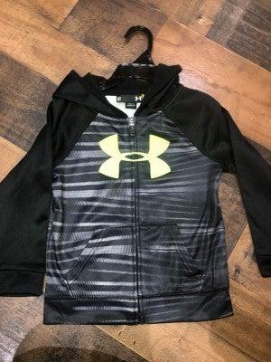 under armor black jacket with green logo