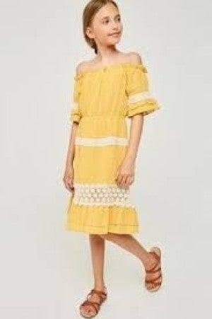 HAYDEN YELLOW DRESS WITH LACE TWEEN