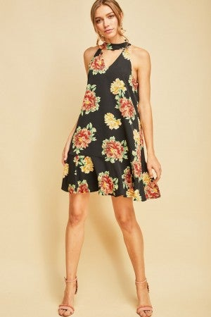 Floral print mock neck dress featuring dropped waistline