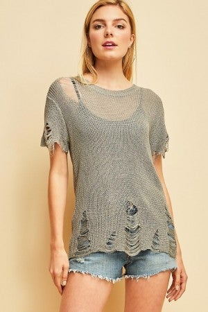 Thin distressed loose knit top (2 colors)