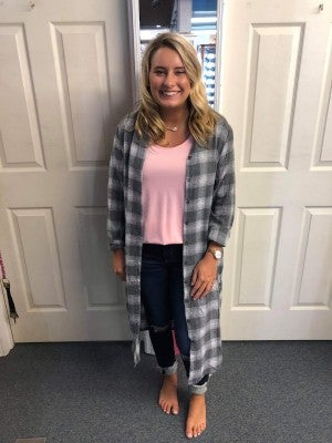 BO COLLECTION GRAY PLAID BUTTON UP DRESS or CARDIGAN
