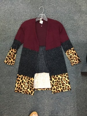 POMELO COLOR BLOCK CARDIGAN ( BURGUNDY, CHARCOL, AND CHEETAH)