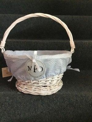 l Blue Wicker Seersucker Basket