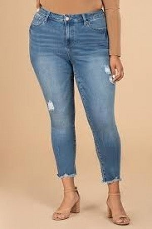 YMI HIGH RISE DISTRESSED ANKLE JEANS