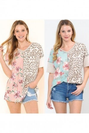 Floral and leopard print tunic top