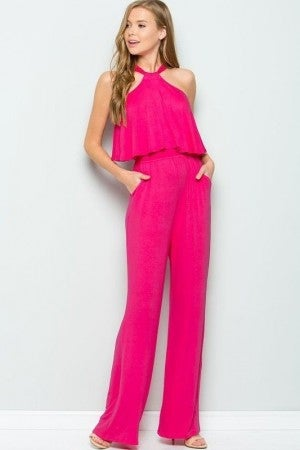 SWEET LOVELY HOT PINK HALTER TOP JUMP SUIT
